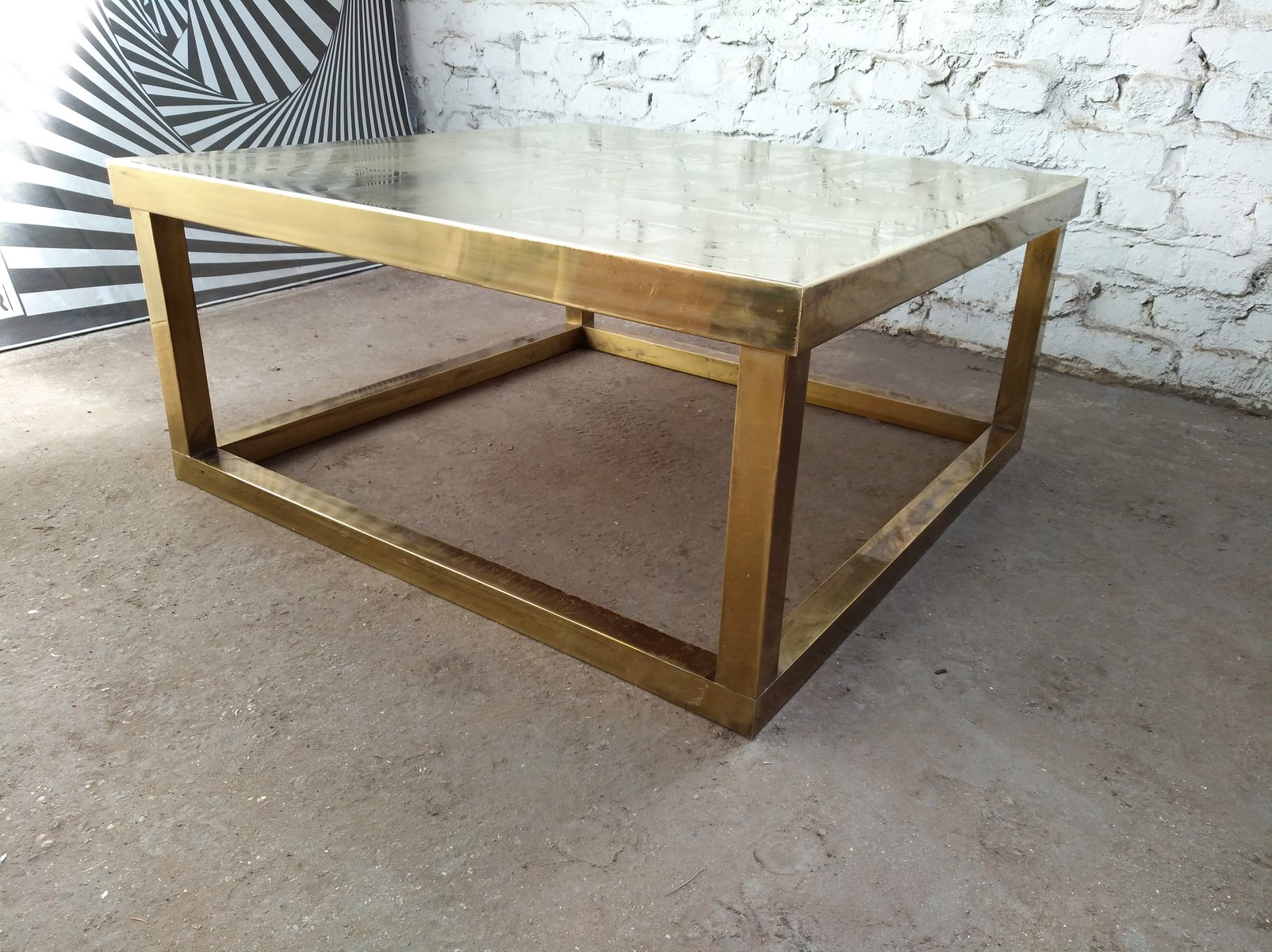 Square Belgian Brutalist Etched Brass Coffee Table by Willy Daro