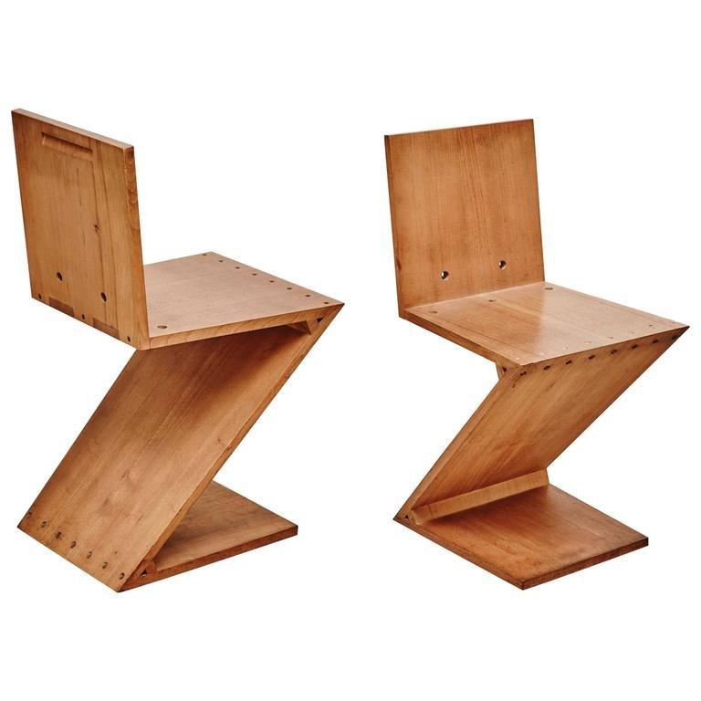 Zig zag stuhl von gerrit rietveld f r metz co 1968 bei for Design stuhl zig zag