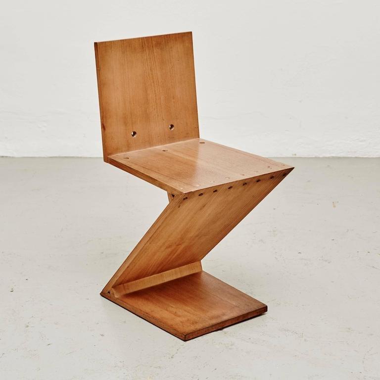 zig zag stuhl von gerrit rietveld f r metz co 1968 bei. Black Bedroom Furniture Sets. Home Design Ideas