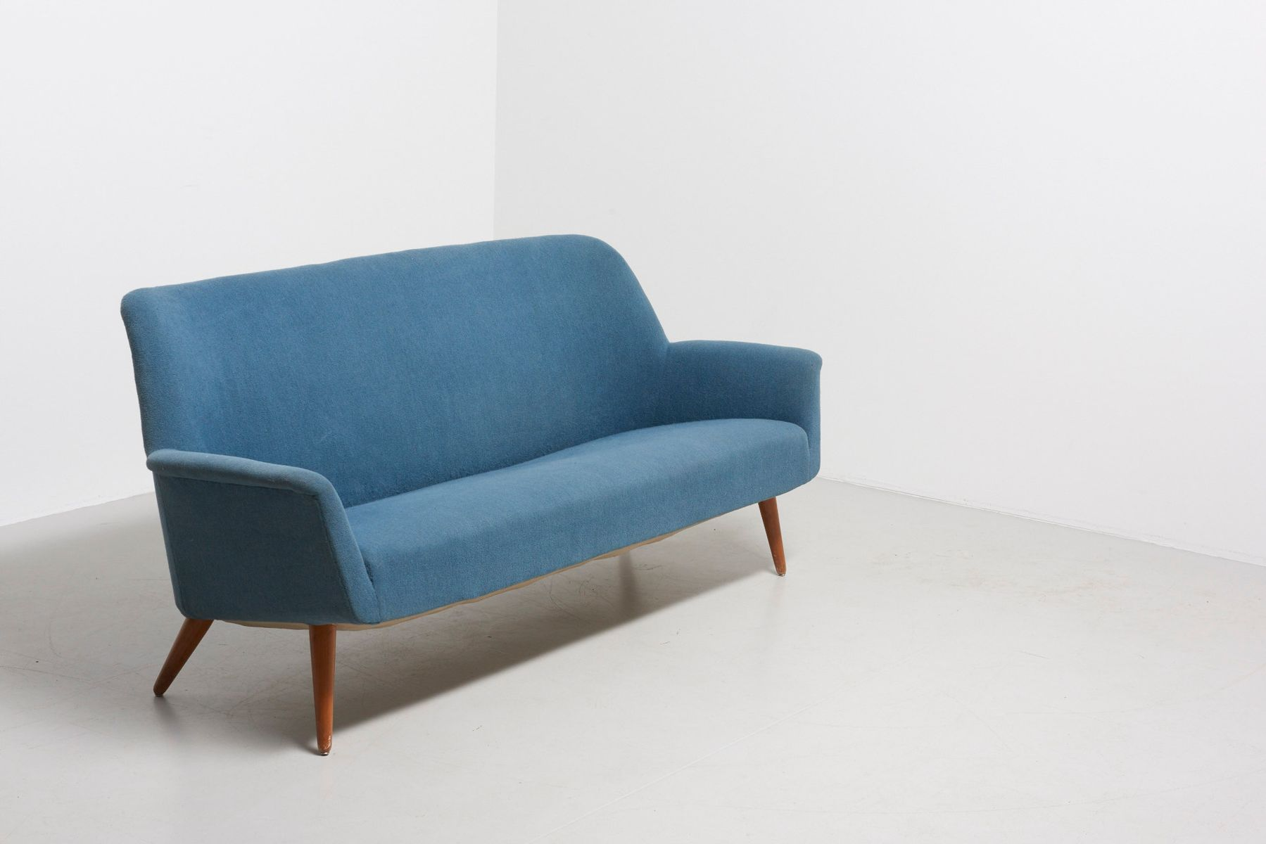 Mid Century 2 Seater Sofa With Blue Fabric And Teak Legs