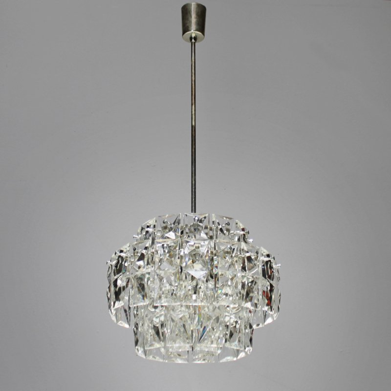 Vintage Nickel-Plated Chandelier with Rectangular Crystals from ...