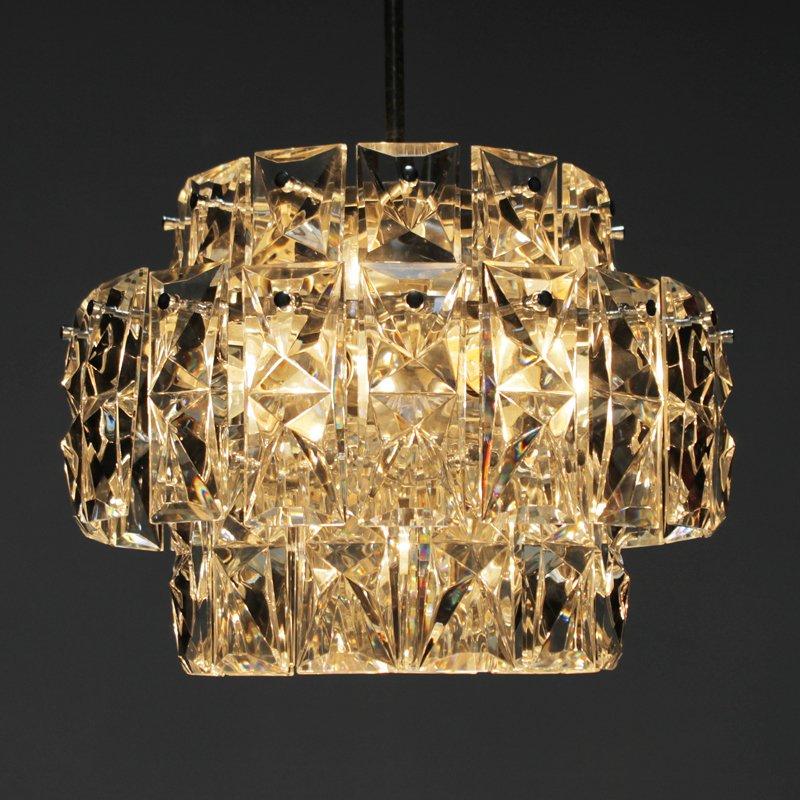 Vintage Nickel Plated Chandelier With Rectangular Crystals