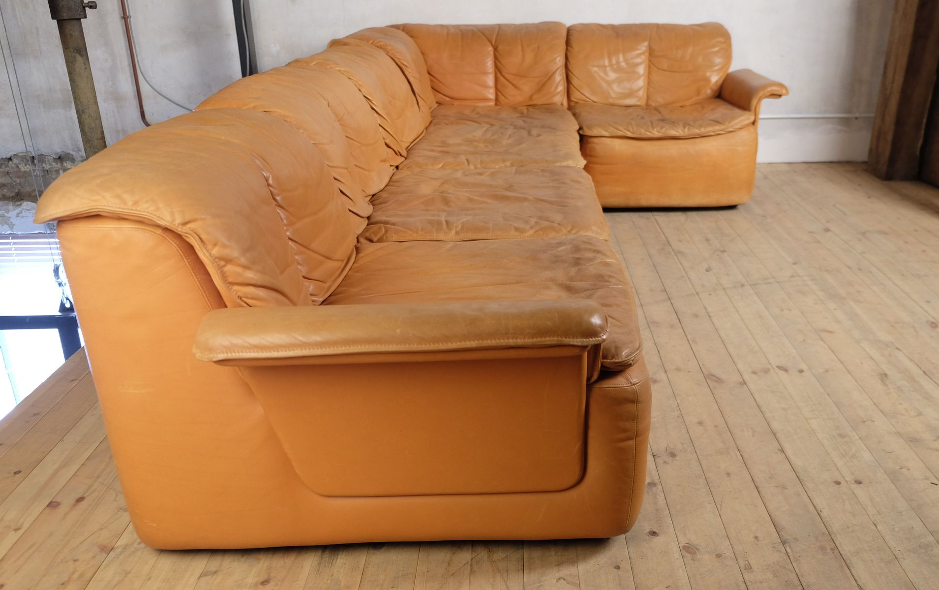 Vintage Modular Corner Sofa In Leather For Sale At Pamono
