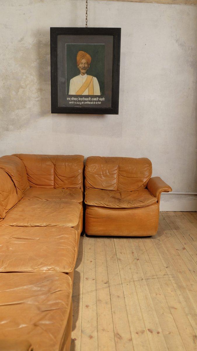 modulares vintage ecksofa aus leder bei pamono kaufen. Black Bedroom Furniture Sets. Home Design Ideas