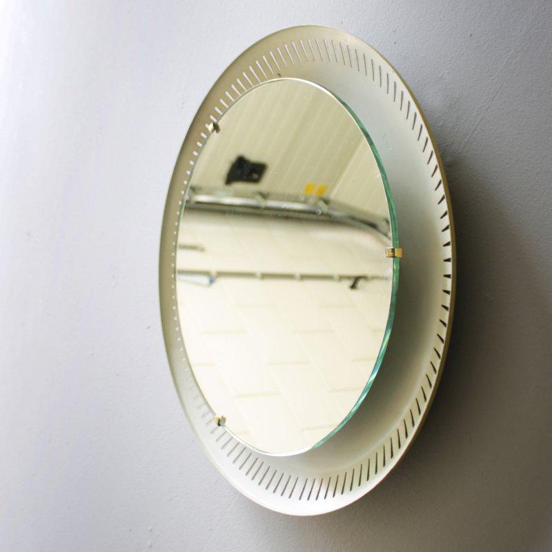 italienischer beleuchteter mid centutry spiegel bei pamono. Black Bedroom Furniture Sets. Home Design Ideas