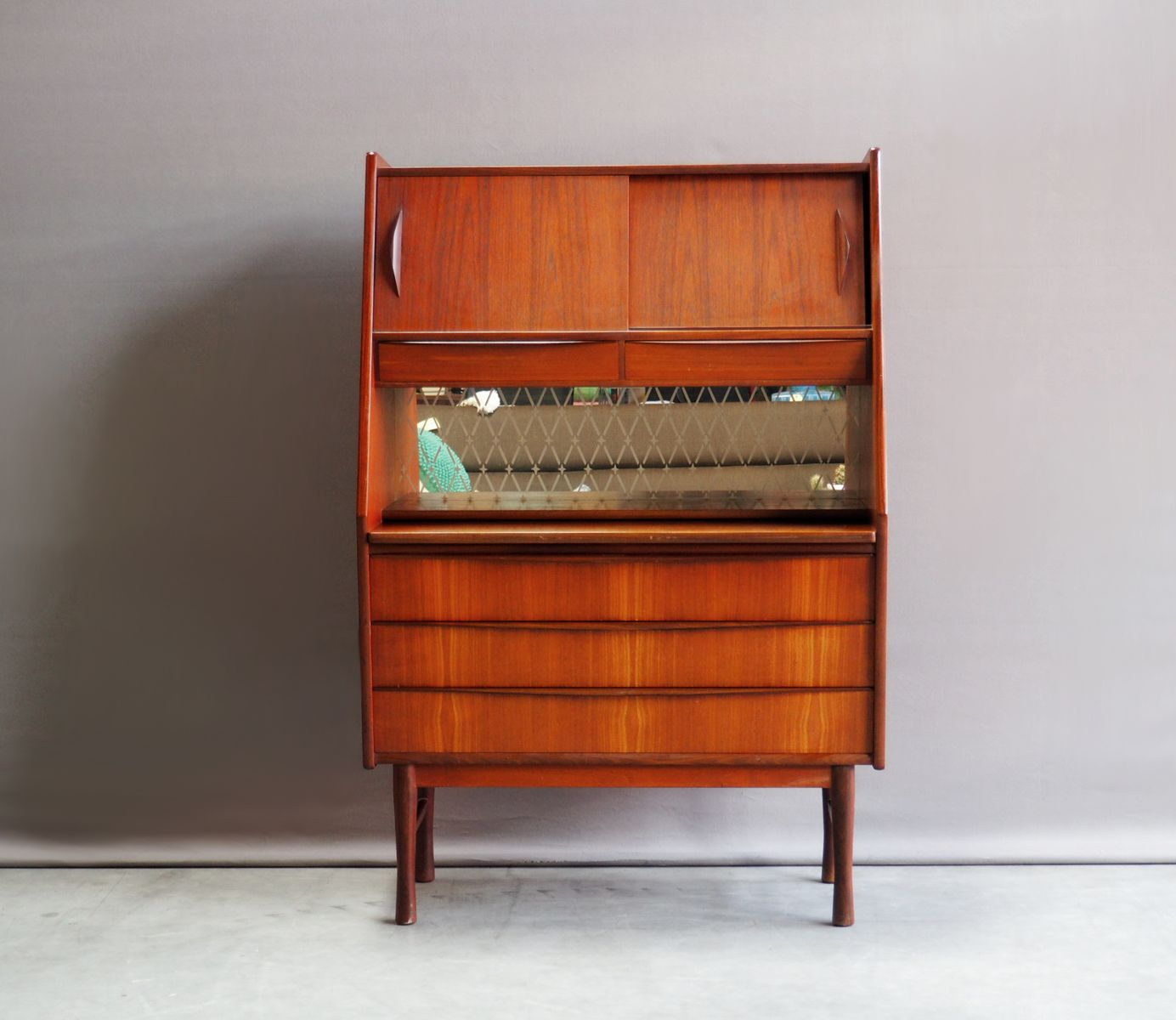 vintage danish secretaire with pull out desk and mirror. Black Bedroom Furniture Sets. Home Design Ideas