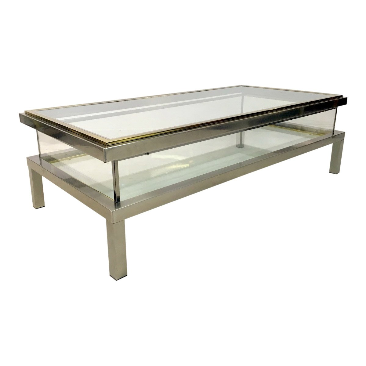 Vintage french sliding top vitrine coffee table for sale for Table a vi 6 2 of the stcw code