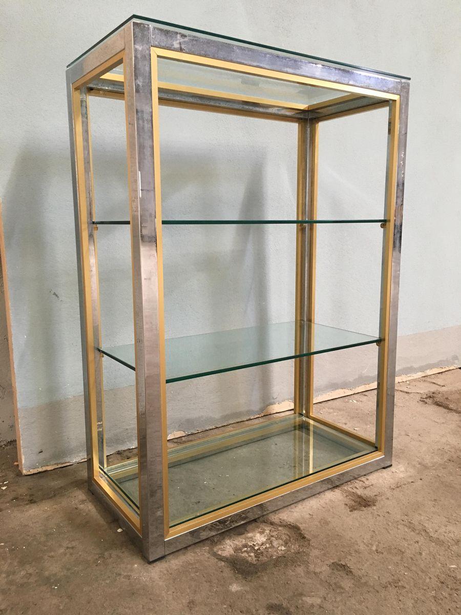 scaffale in metallo cromato, vetro e ottone di romeo rega, italia ... - Scaffali Metallo E Vetro