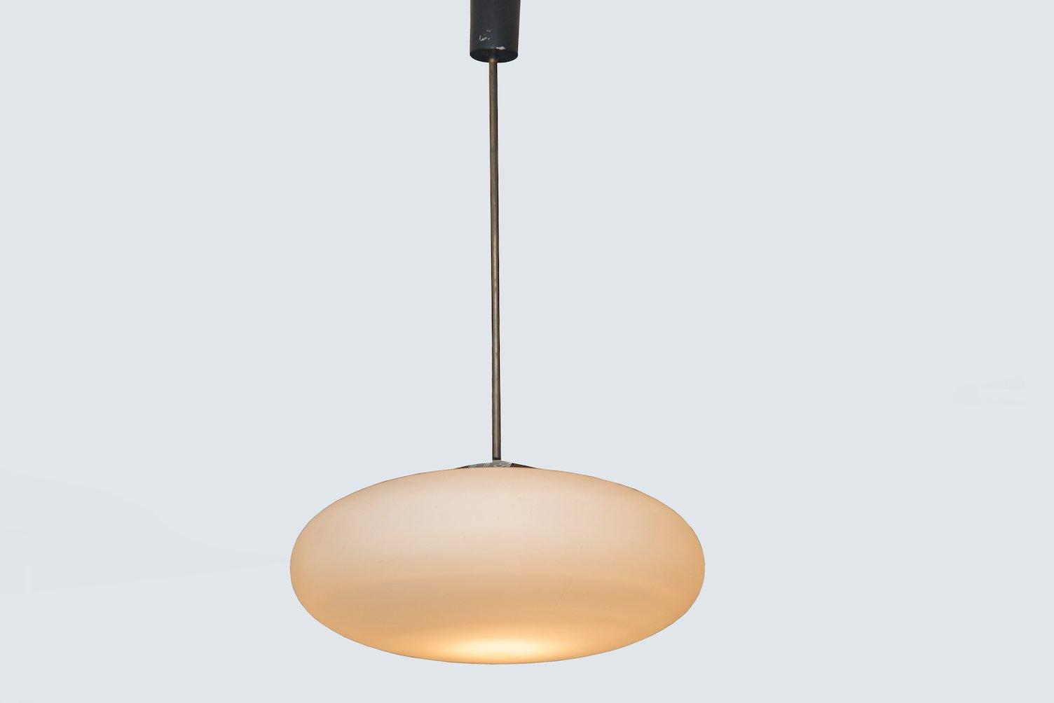Lampe suspension vintage en verre opalin givr italie en vente sur pamono - Lampe suspension vintage ...