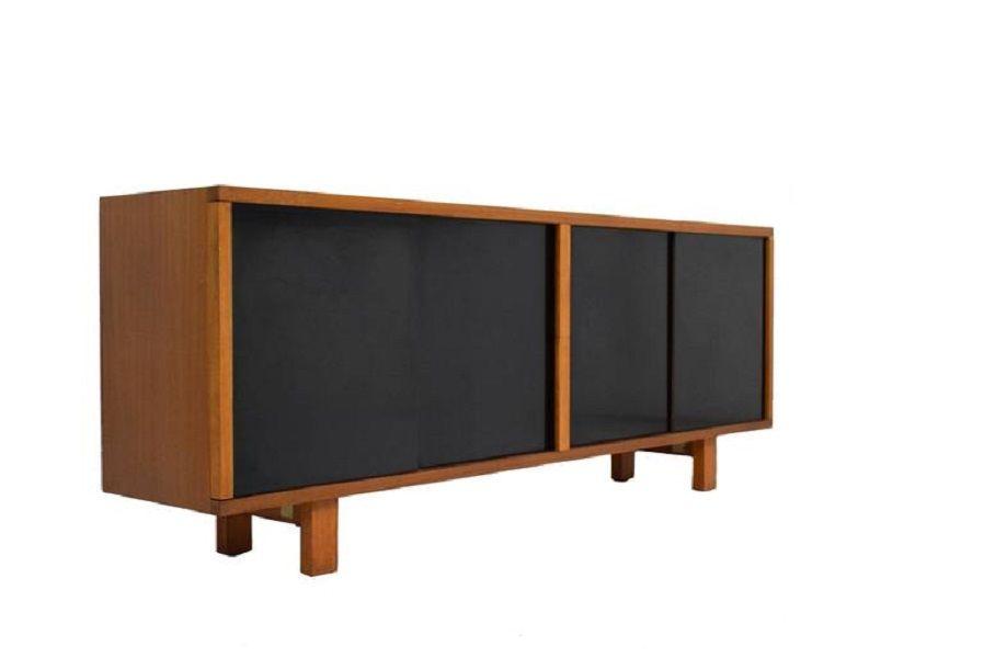 mid century sapele sideboard mit schwarzen schiebet ren bei pamono kaufen. Black Bedroom Furniture Sets. Home Design Ideas