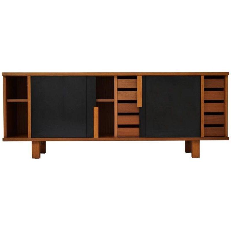 mid century sapele sideboard mit schwarzen schiebet ren. Black Bedroom Furniture Sets. Home Design Ideas