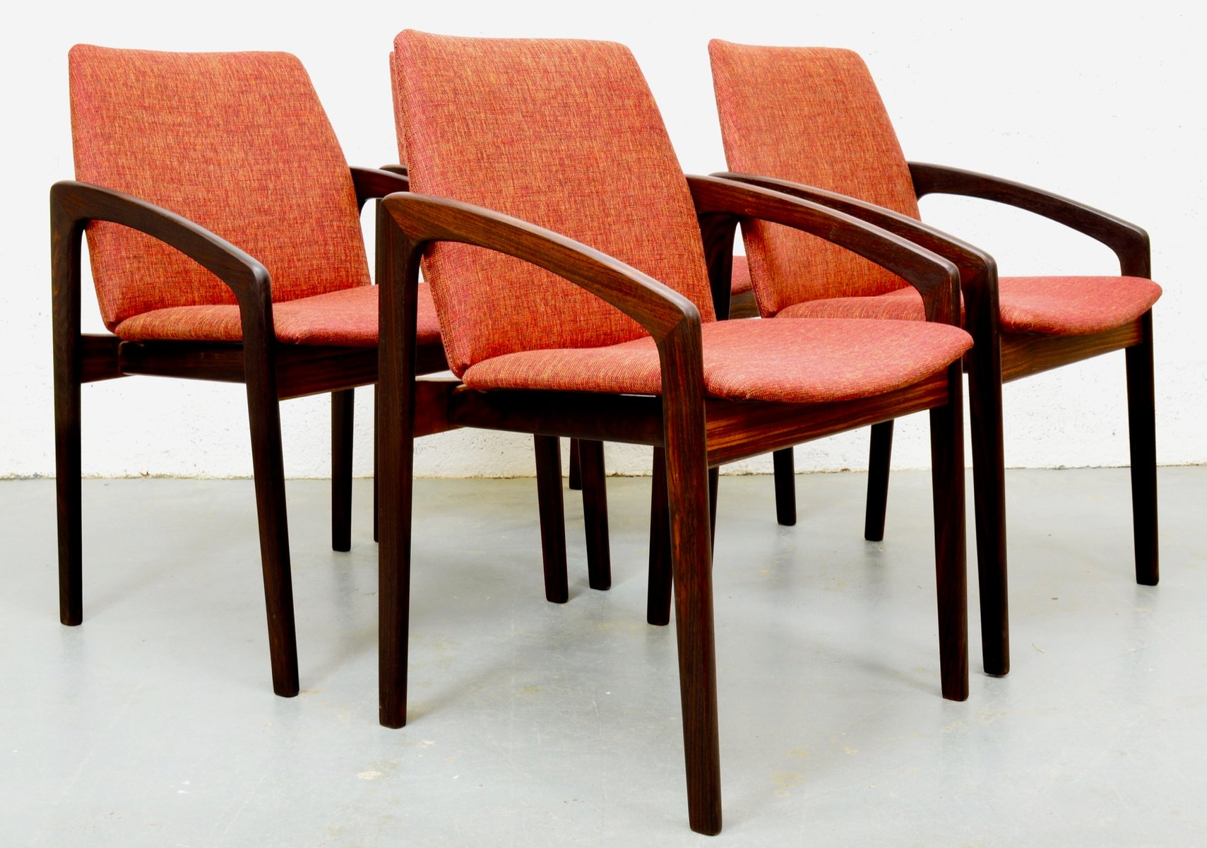 Mid Century Rosewood Danish Chairs By Kai Kristiansen For Korup Set Of 4 For Sale At Pamono