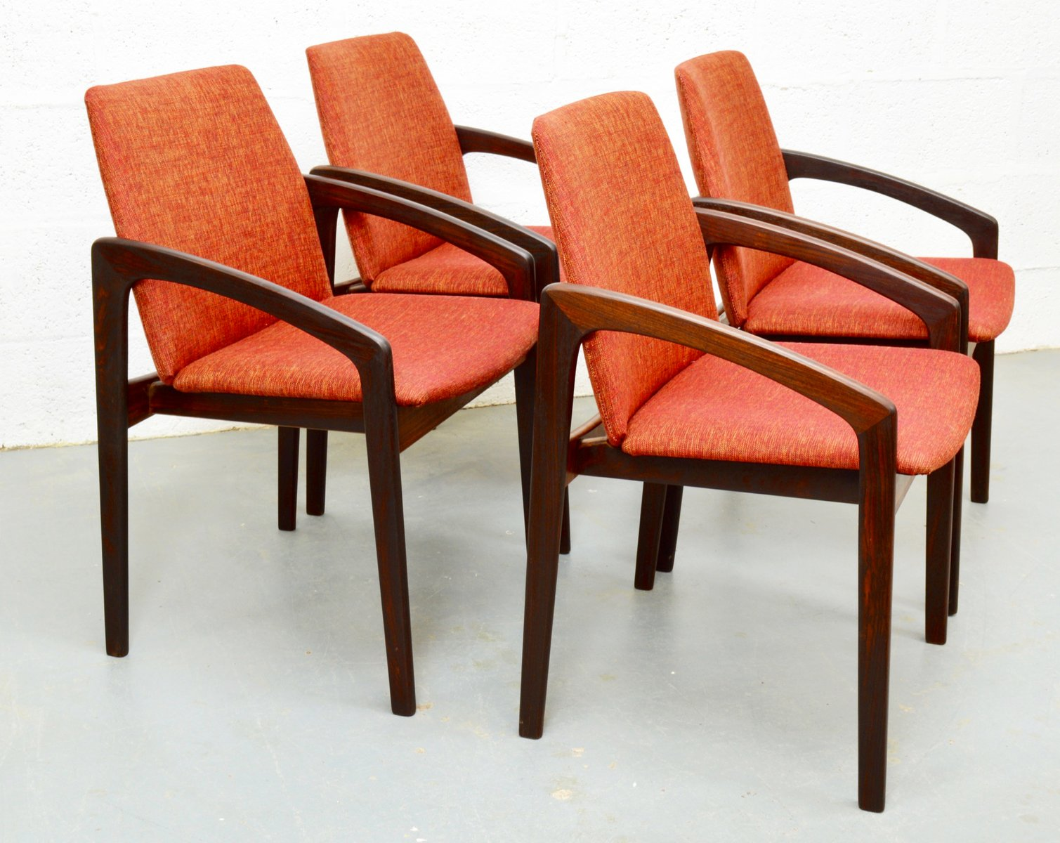 Mid Century Rosewood Danish Chairs By Kai Kristiansen For Korup, Set Of 4