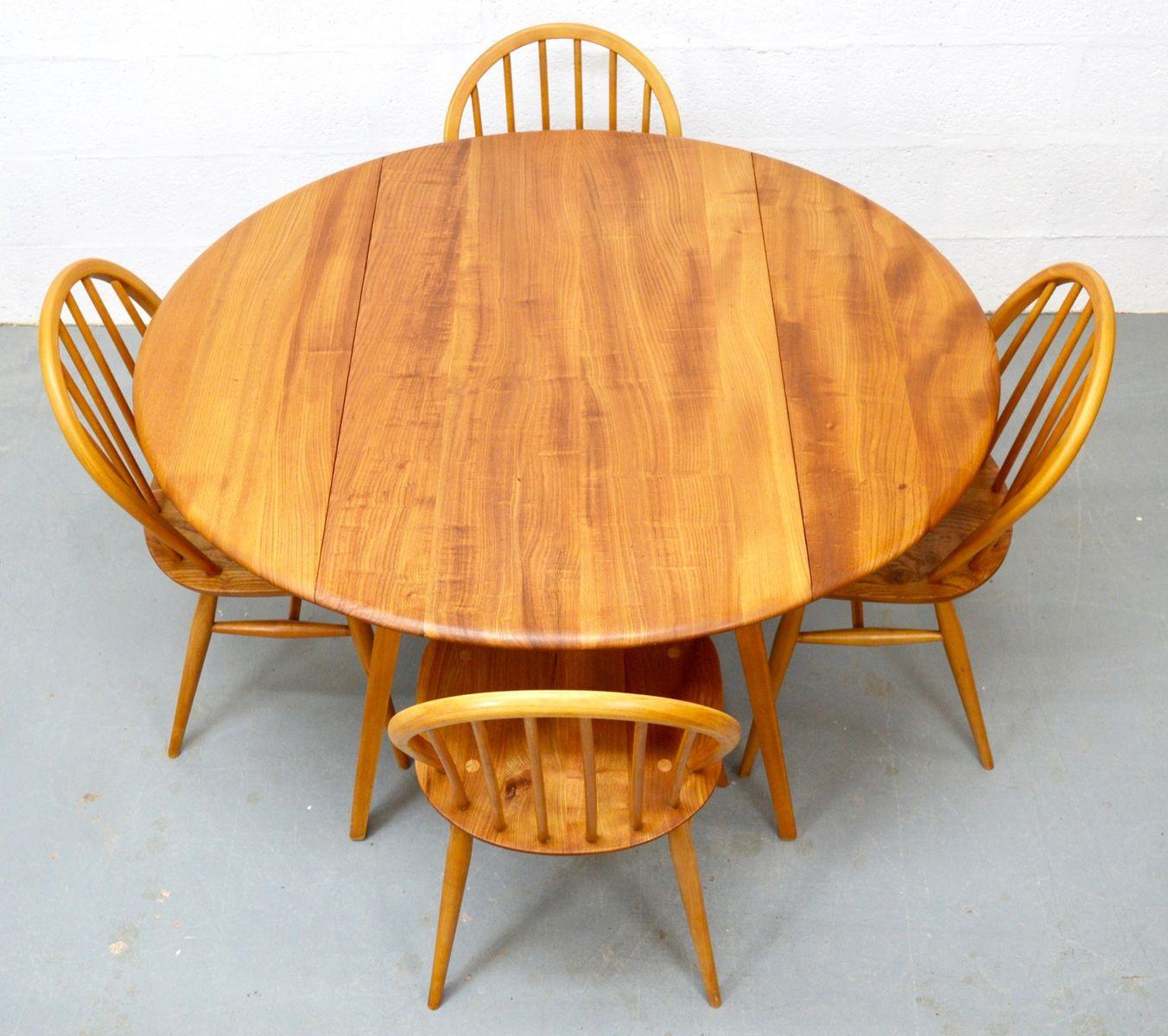 Esstisch Mid Century ~ MidCentury Ulmenholz Esstisch mit Stühlen von Ercol bei Pamono kaufen