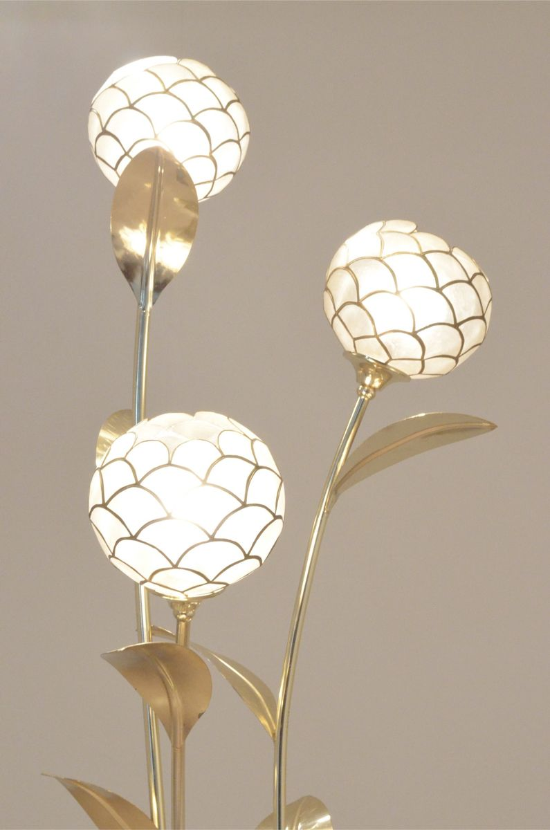 brass mother of pearl floral floor lamp 1970s for sale. Black Bedroom Furniture Sets. Home Design Ideas