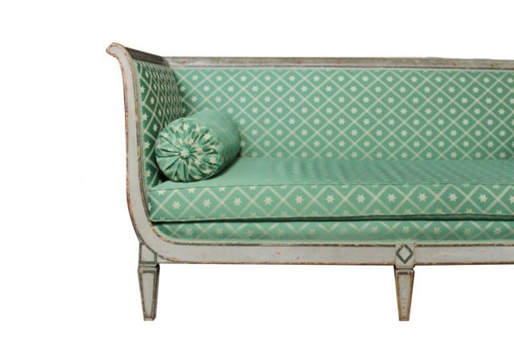 Antique French Empire Sofa With Green Silk Upholstery For Sale At Pamono