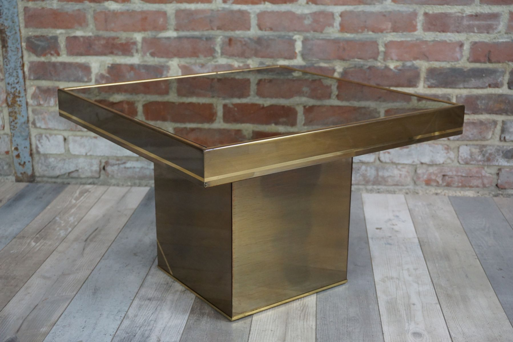 Vintage Square Coffee Table In Lacquered Metal And Brass For Sale At Pamono