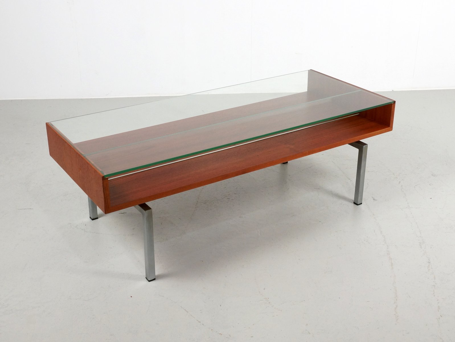 Vintage Coffee Table In Teak And Glass For Sale At Pamono