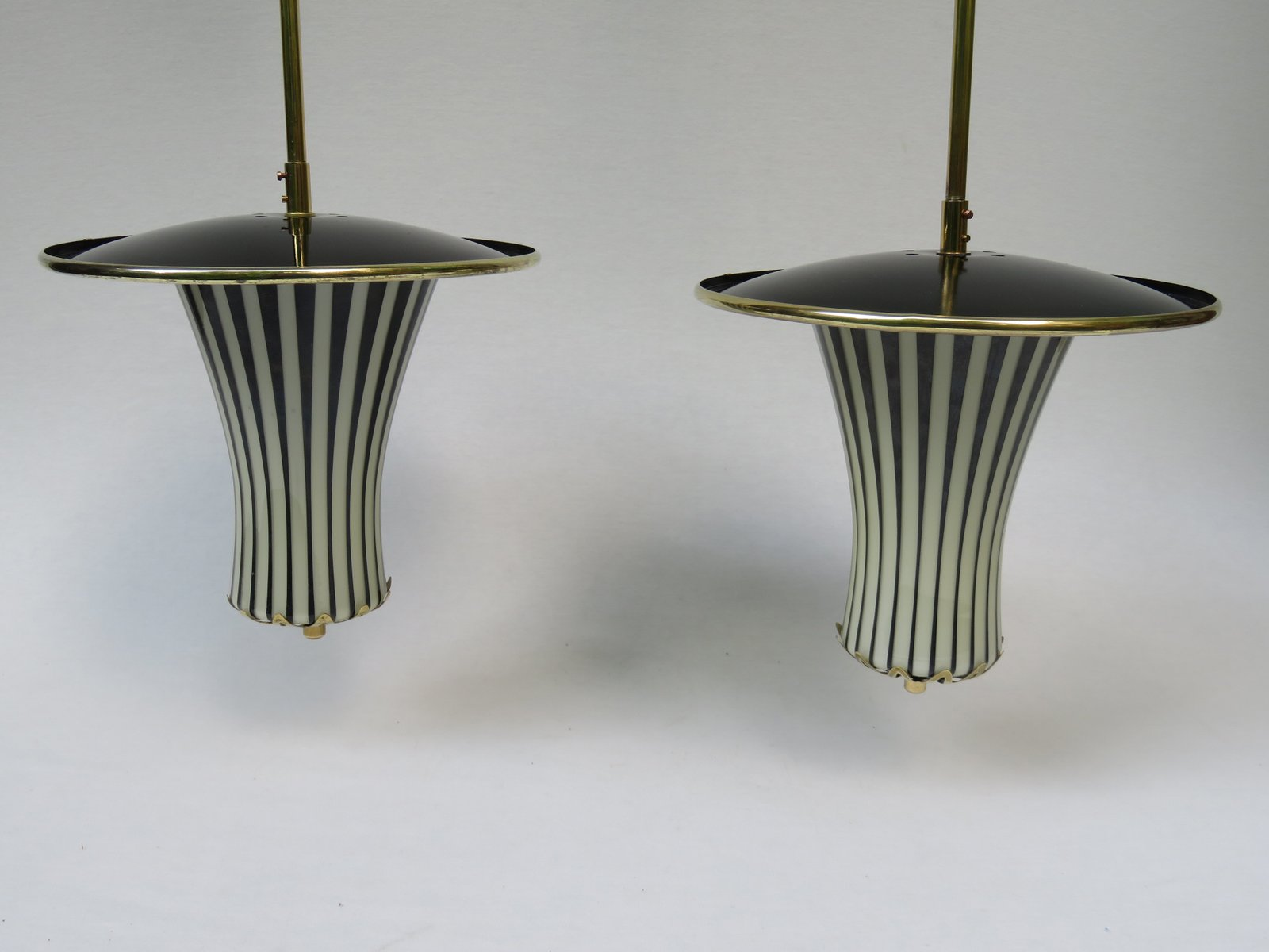black and white italian pendant lamps 1950s set of 2 for sale at