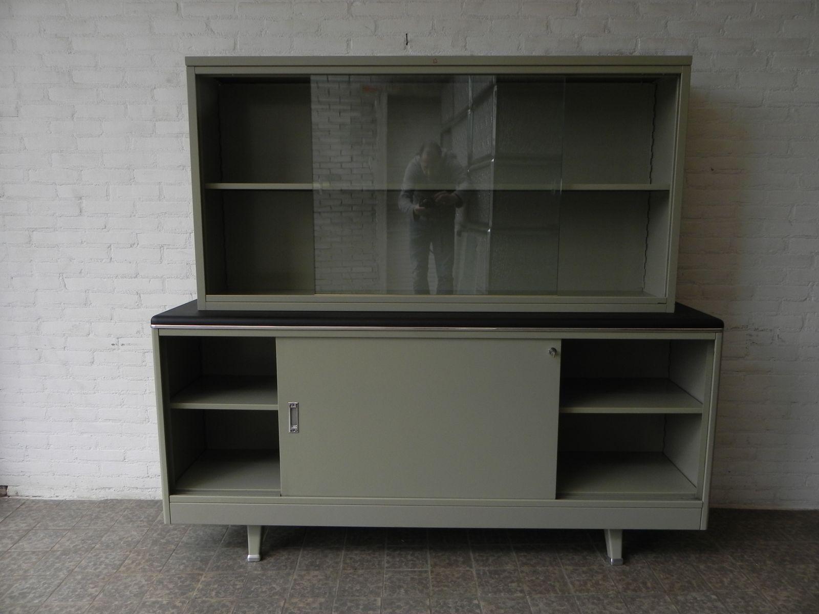 Meuble de rangement vintage en deux parties en acier de for Rangement entre deux meubles