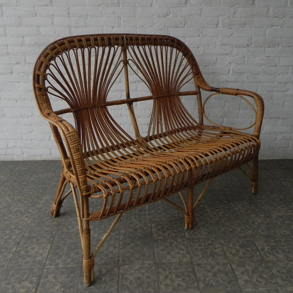 vintage bamboo  rattan bench s for sale at pamono - vintage bamboo  rattan bench s