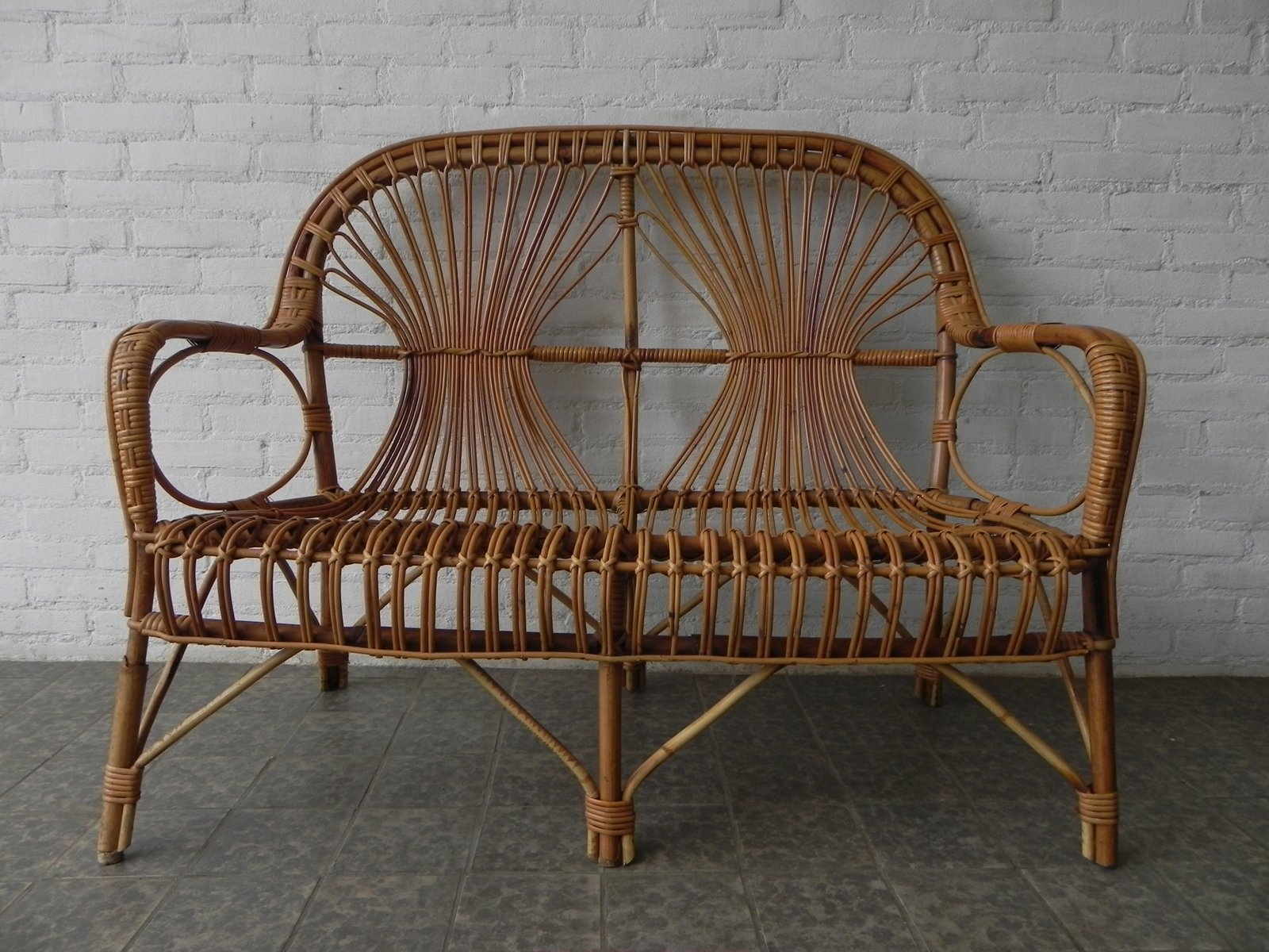 Vintage Bamboo Rattan Bench 1950s For Sale At Pamono
