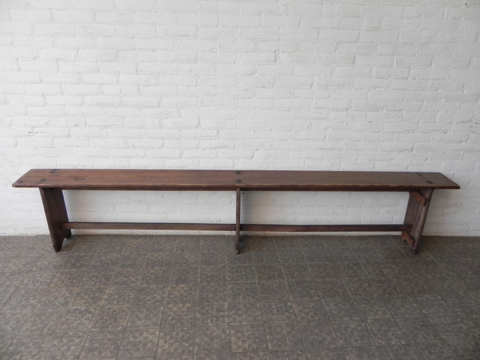 Long Wooden School Bench 1950s For Sale At Pamono