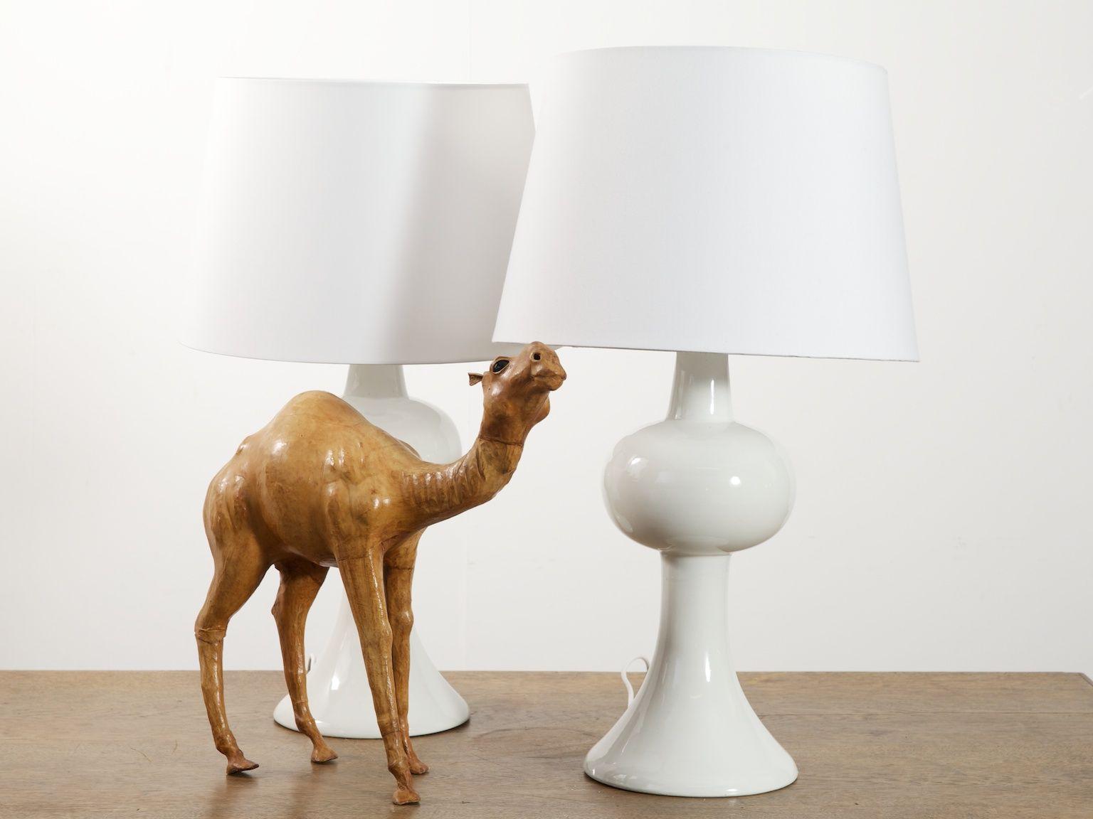 italian white glazed ceramic table lamps 1960s set of 2