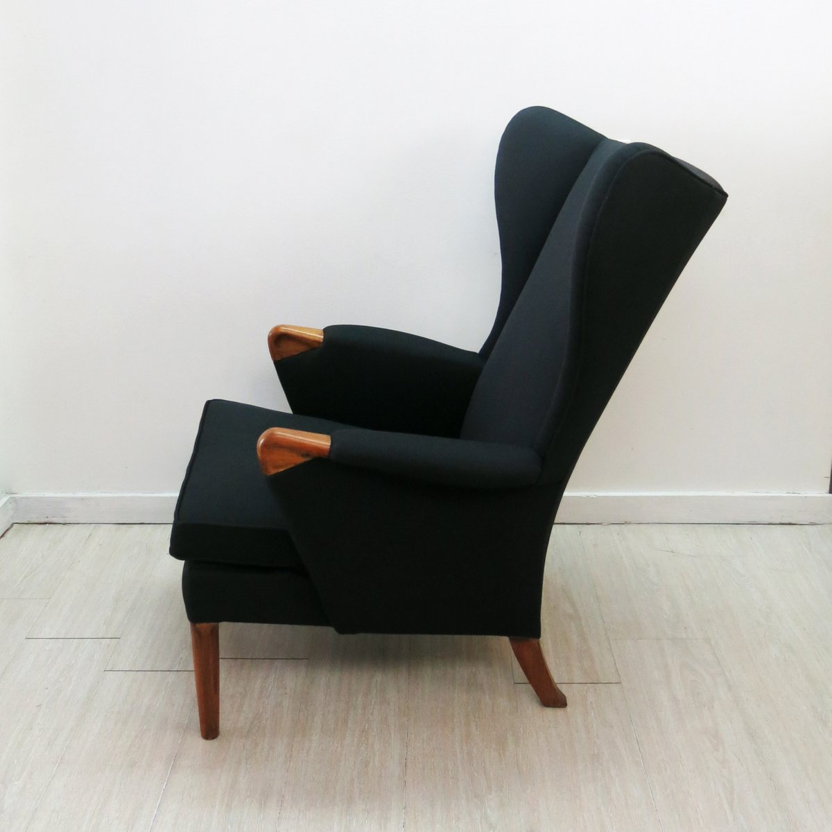 Black Wingback Chair with Teak Legs from Parker Knoll