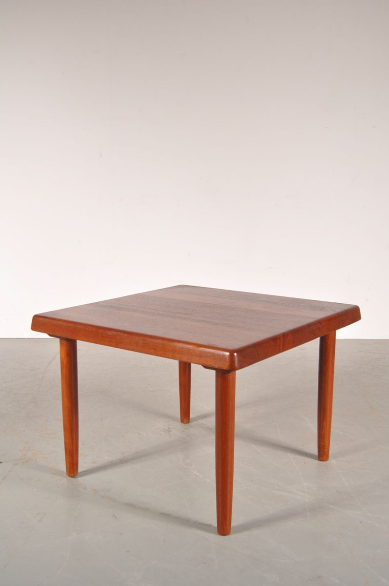 solid teak square danish coffee table from niels bach, 1950s for