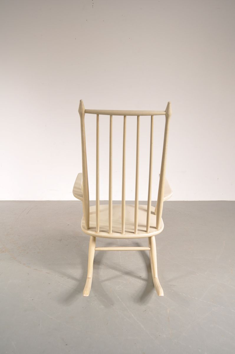 White Wooden Rocking Chair From Nesto 1950s For Sale At Pamono