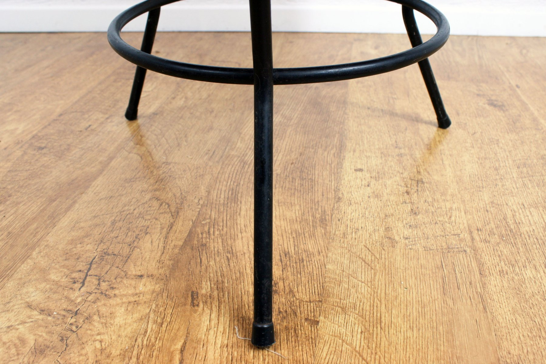 Vintage Rattan Coffee Table with Black Metal Base for sale at Pamono