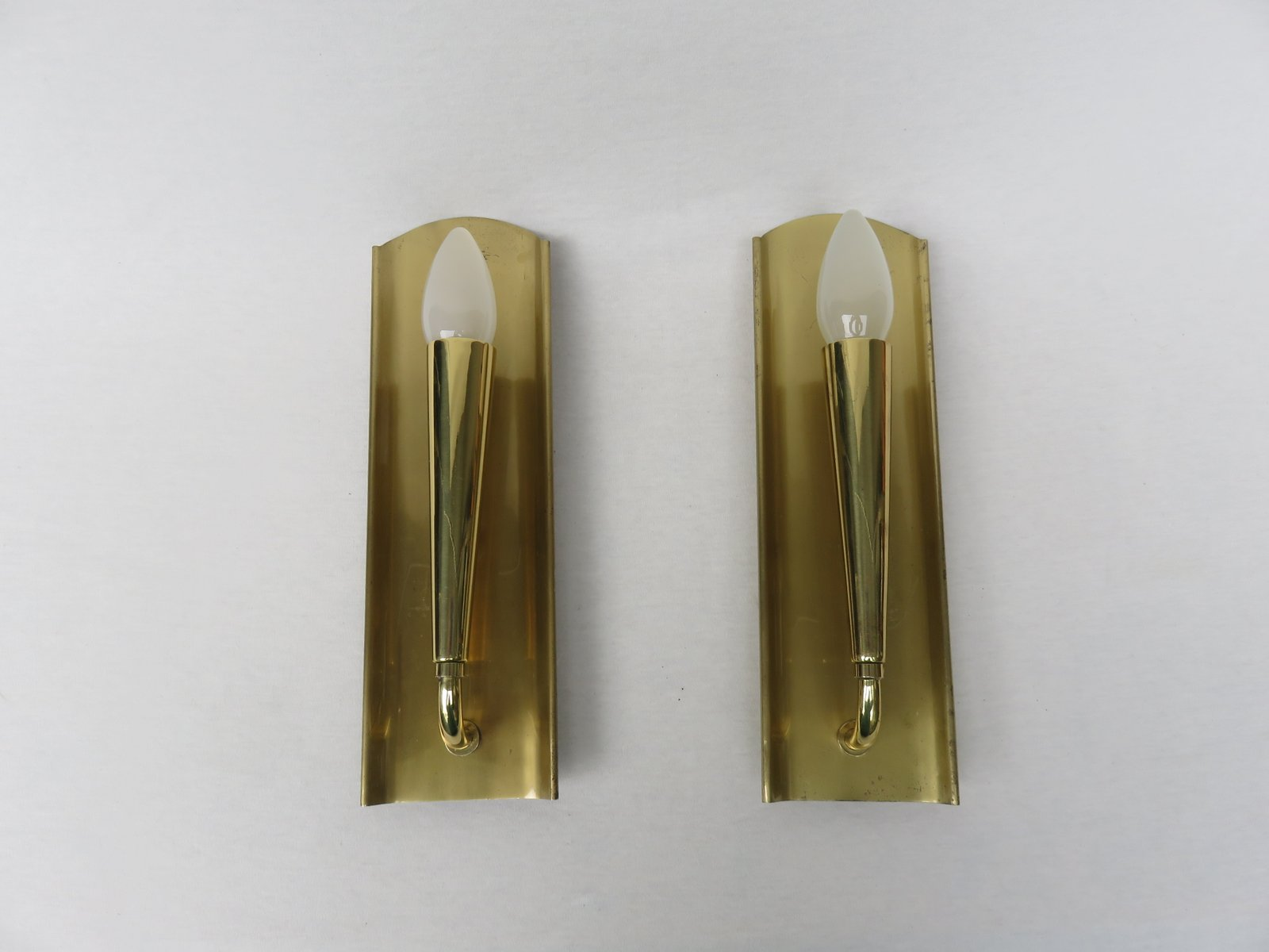 Polished & Matte Brushed Brass Wall Lights, 1950s, Set of 2 for sale at Pamono