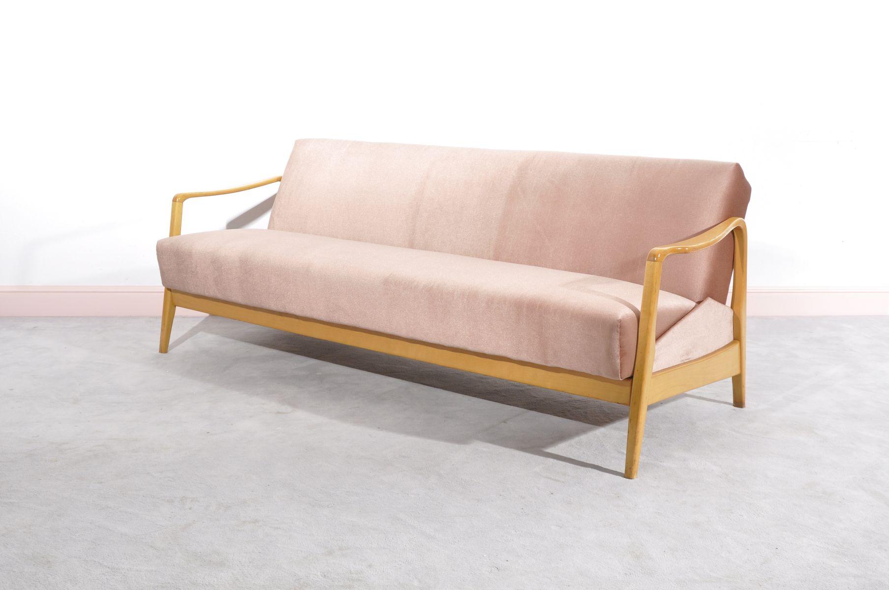 Danish Pink Three Seater Sofa for sale at Pamono