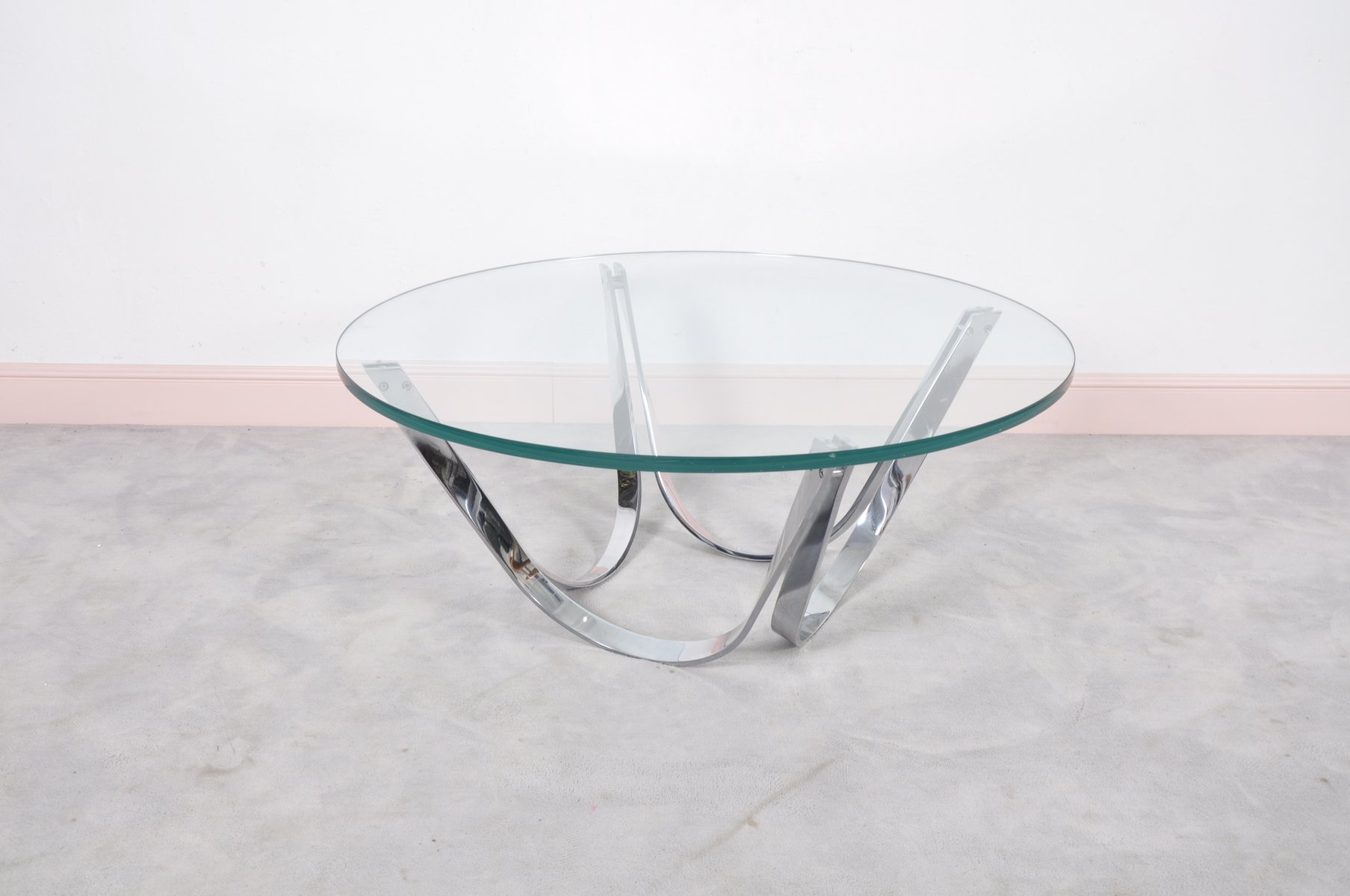 Round glass coffee table by roger sprunger for dunbar 1970s for sale at pamono One piece glass coffee table