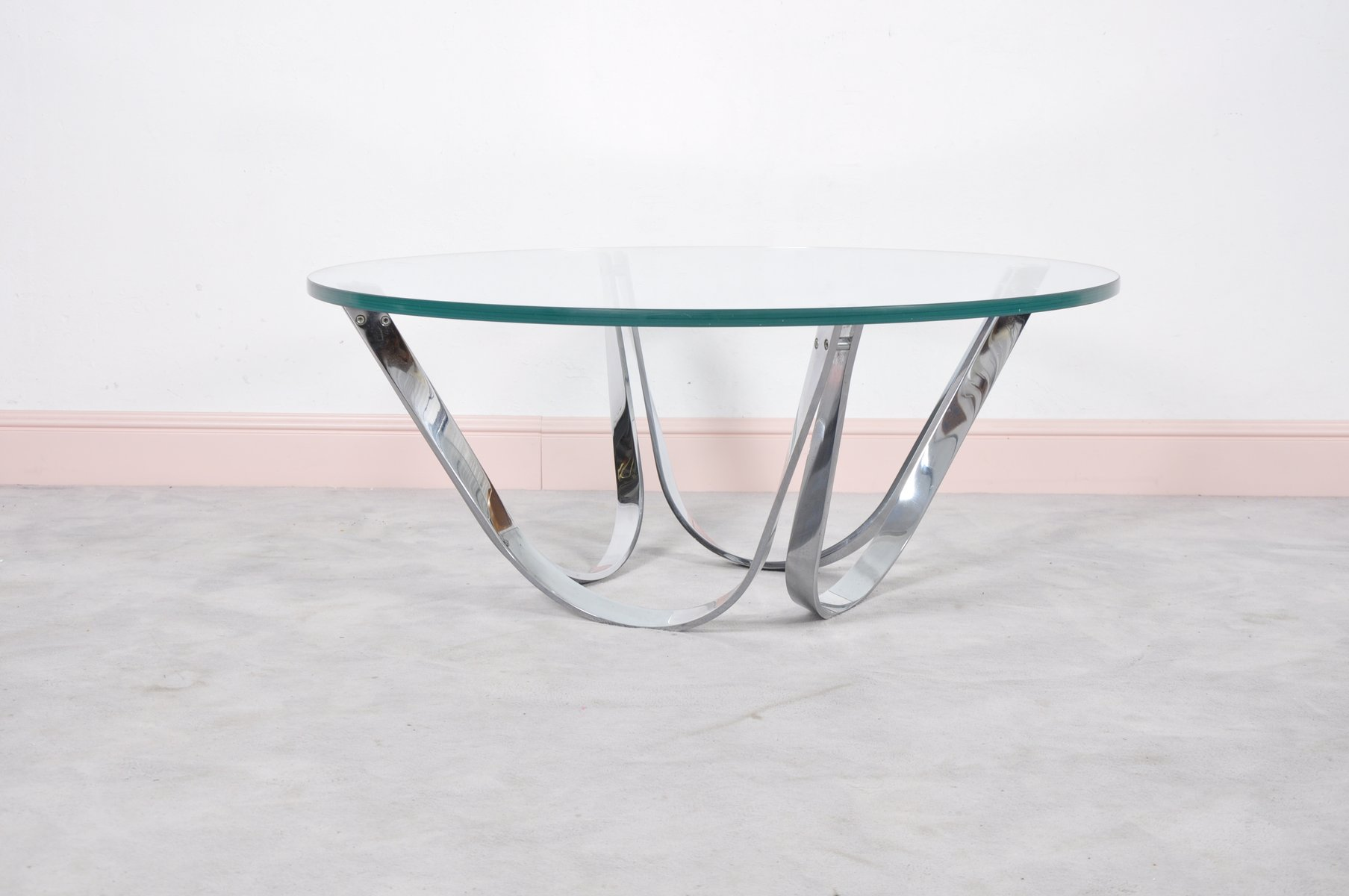 Round Glass Coffee Table by Roger Sprunger for Dunbar 1970s for
