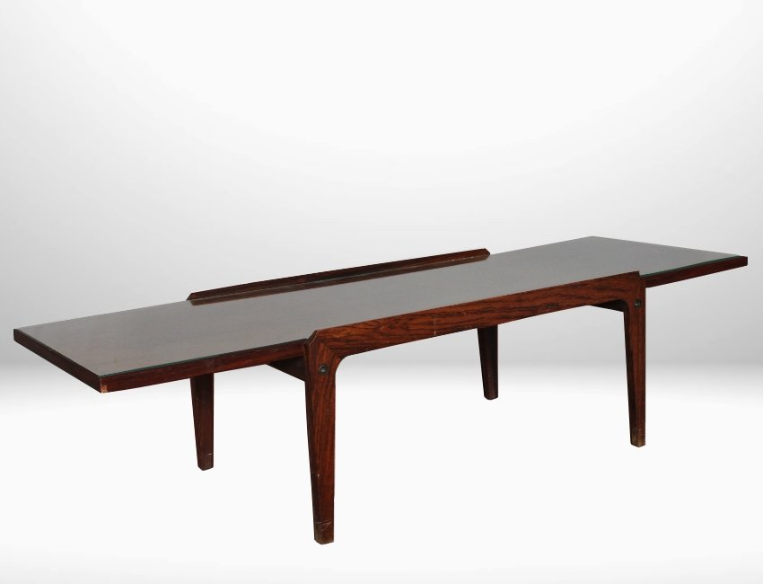 Italian MidCentury Coffee Table with a Glass Top 1950s for sale