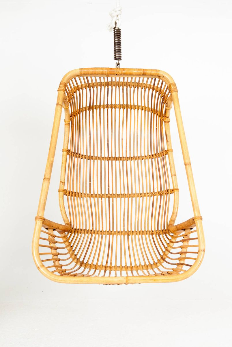 Vintage Bamboo And Woven Cane Hanging Chair