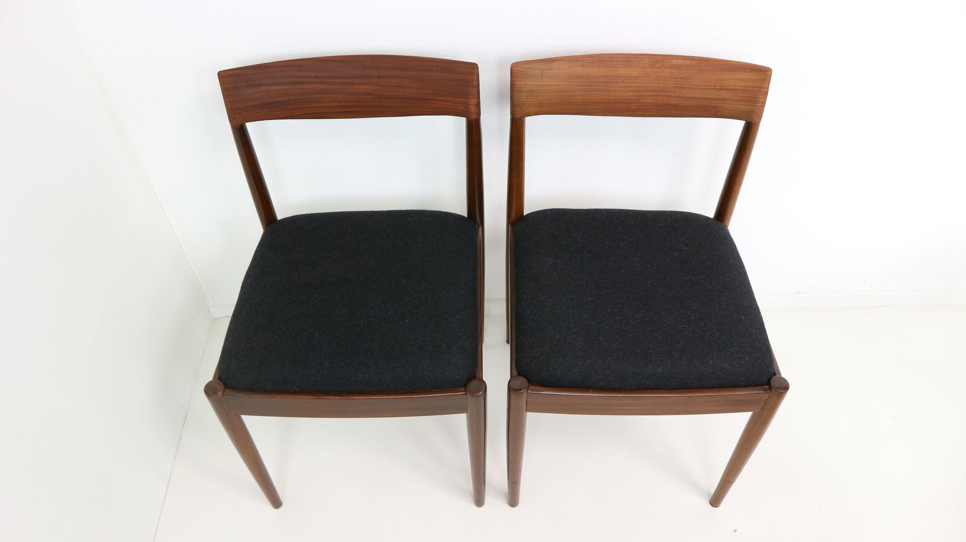 Black wool teak dining chairs from l bke 1960s set of for Black dining chairs for sale