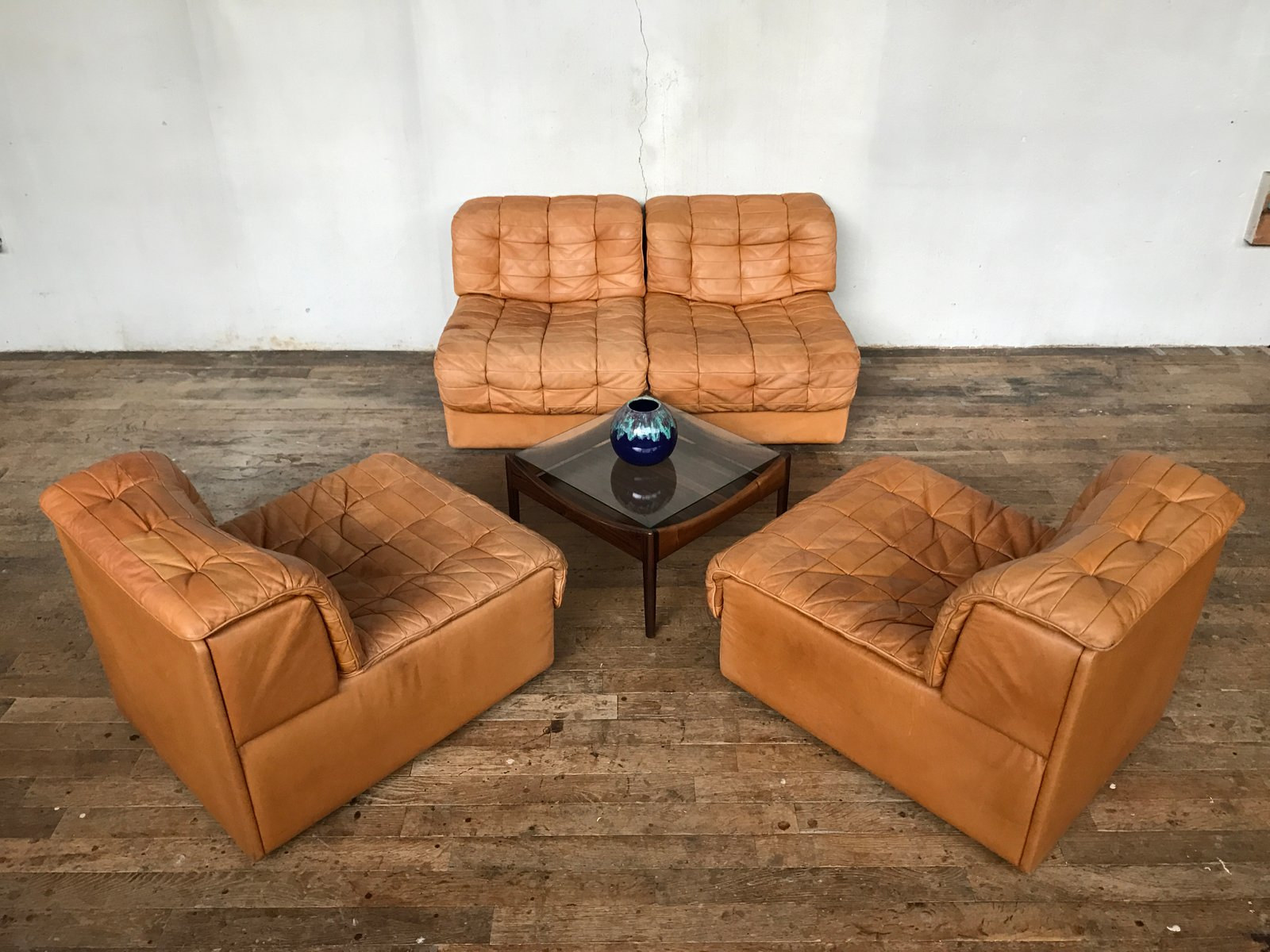 Vintage Modular Swiss DS 11 Leather Sofa from de Sede for sale at