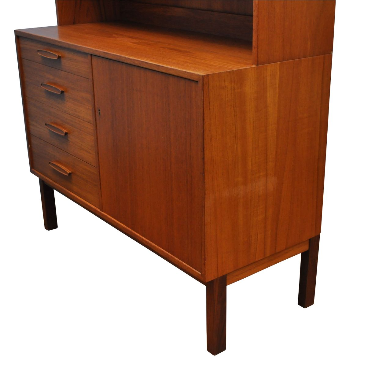 Teak danish cabinet with glazed upper section 1960s for for Upper cabinets for sale