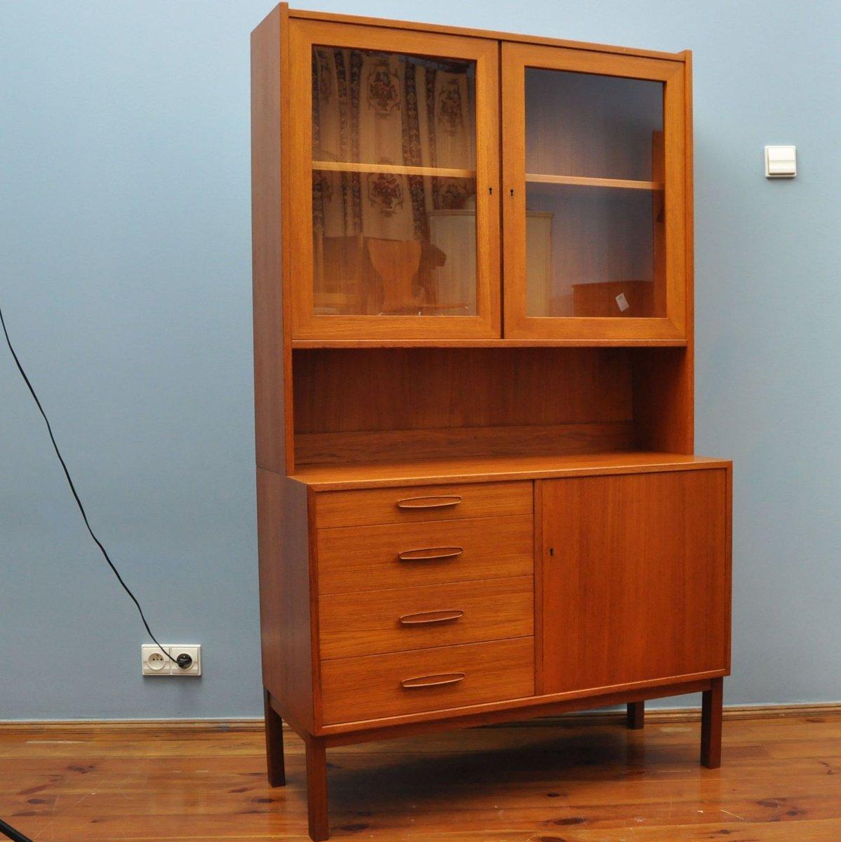 armoire en teck avec section sup rieure glac e danemark. Black Bedroom Furniture Sets. Home Design Ideas