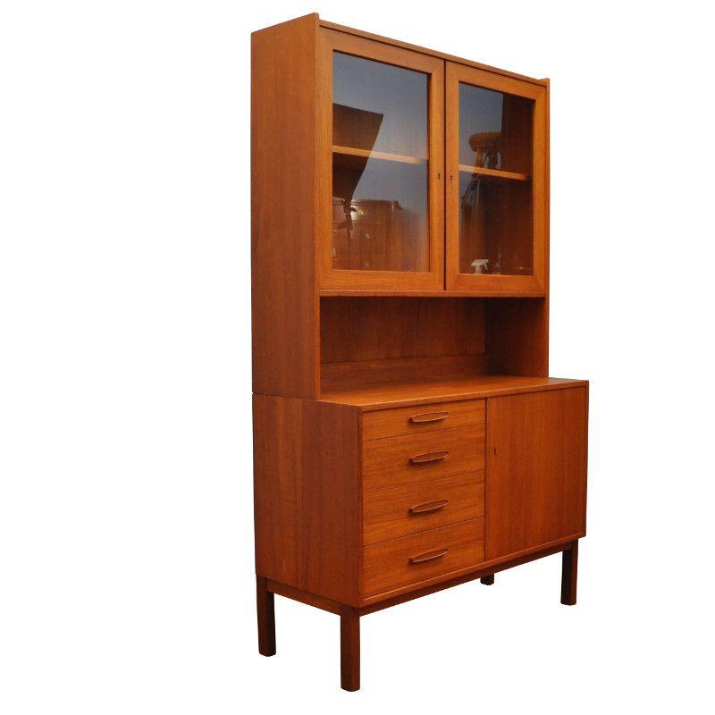armoire en teck avec section sup rieure glac e danemark 1960s en vente sur pamono. Black Bedroom Furniture Sets. Home Design Ideas