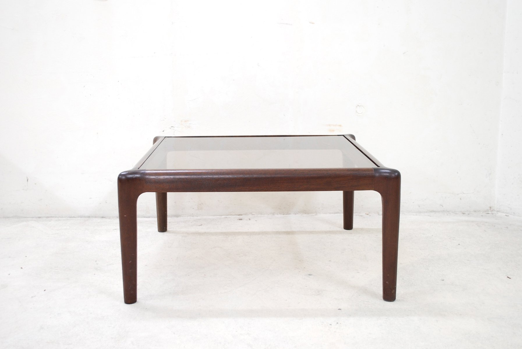 Vintage Low Mahogony Smoked Glass Coffee Table For Sale At Pamono