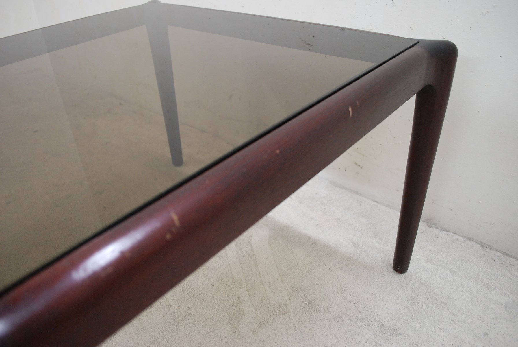 Vintage Low Mahogony U0026 Smoked Glass Coffee Table
