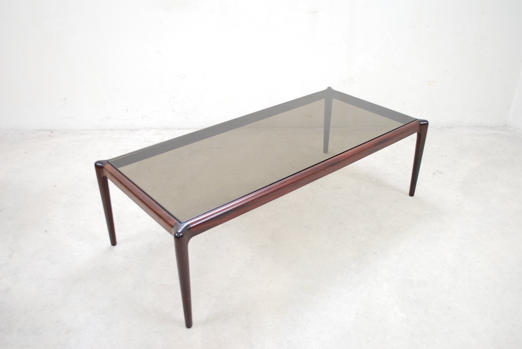Large Vintage Mahogany Smoked Glass Coffee Table For Sale At Pamono