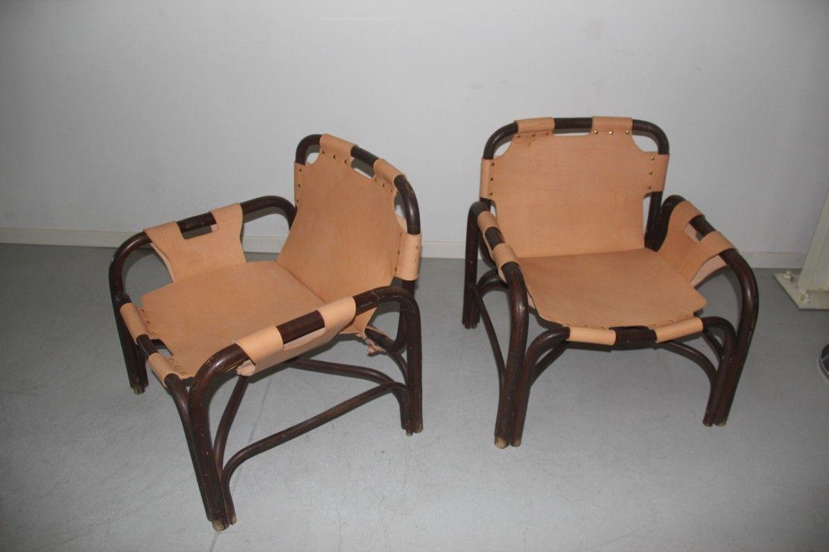 Sessel aus bambus leder 1960er 2er set bei pamono kaufen for Sessel aus leder