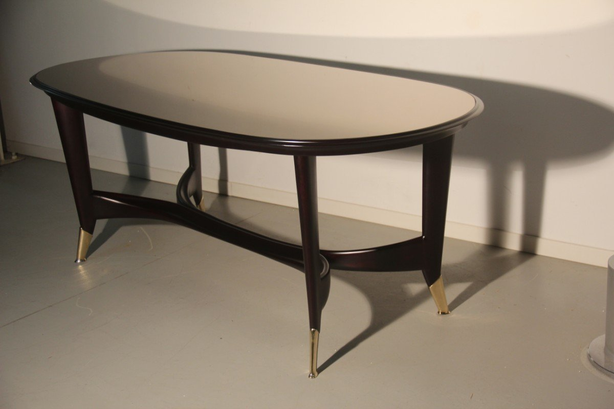 Italian Mahogany Mirrored Glass Dining Table 1950s