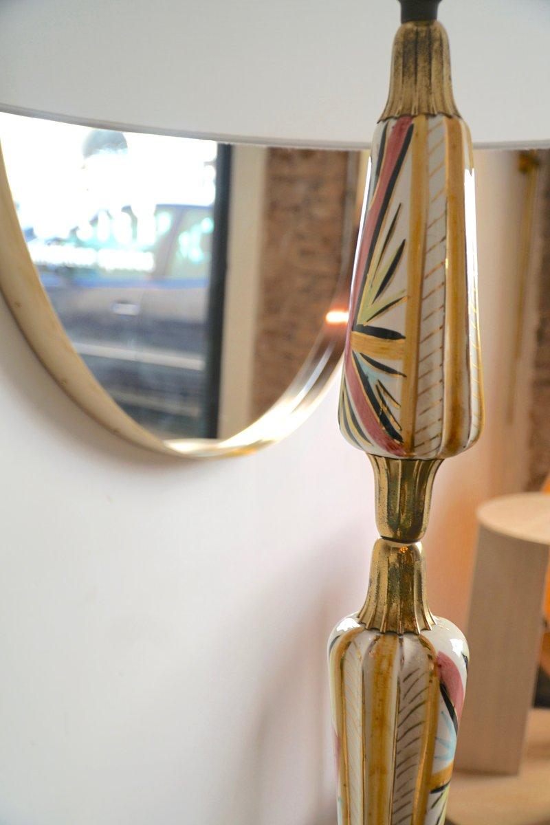 vintage italian ceramic and brass floor lamp for sale at pamono. Black Bedroom Furniture Sets. Home Design Ideas