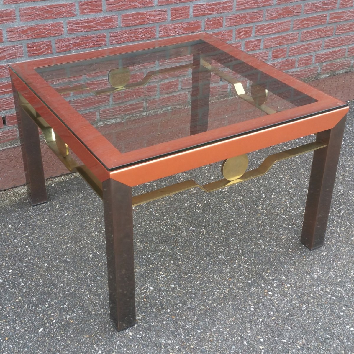 vintage hollywood regency coffee table with glass top for sale at
